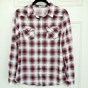 Maroon Plaid Collared Button Down Shirt